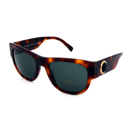 Versace // Unisex VE4359-52177155 Square Sunglasses // Havana + Green