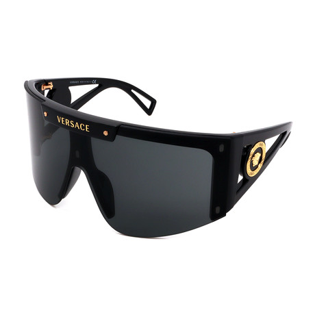 Versace // Men's VE4393-GB187 Shield Sunglasses // Shiny Black + Gray