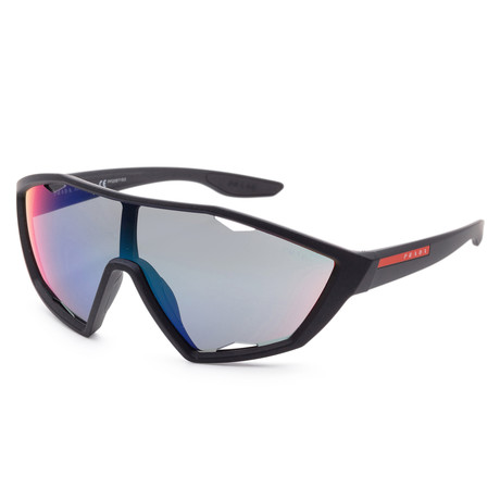 Men's PS10US-DG09Q130 Linea Rossa Sunglasses // Black + Dark Gray + Mirror Blue + Red