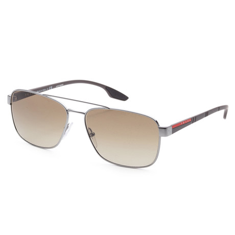 Men's PS51US-5AV1X162 Linea Rossa Sunglasses // Gunmetal + Brown Gradient