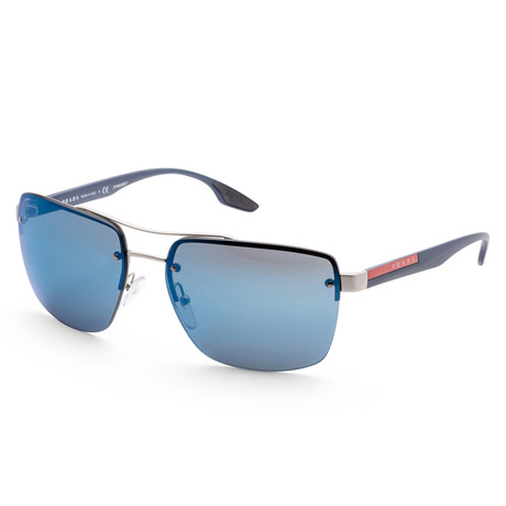 Men's PS60US-QFP9P162 Linea Rossa Polarized Sunglasses // Silver + Blue