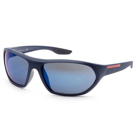 Men's PS18US-MA39P166 Linea Rossa Sunglasses // Matte Blue + Blue Mirror