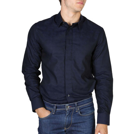 Long-Sleeve Button-Down Shirt // Dark Blue (S)