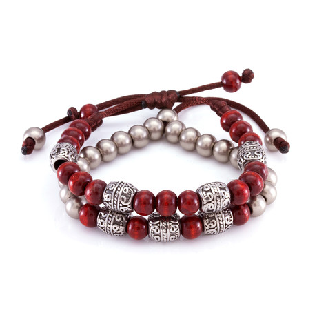 The Red Steel Band Bracelet // Silver