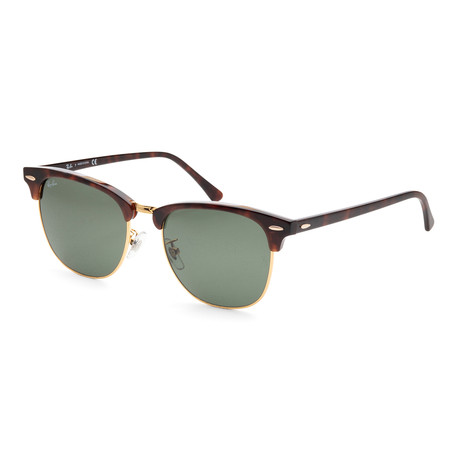 Unisex Clubmaster RB3016F-W036655 Sunglasses // Mock Tortoise Arista + Green