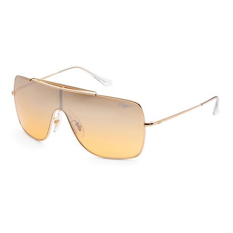 Ray-Ban // Men's Wings II RB3697-9050Y1 Sunglasses // Gold + Orange Mirror Silver