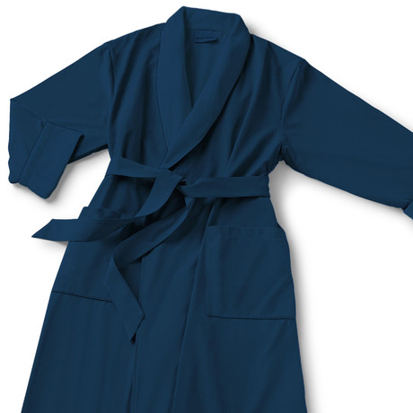 Microfiber Shawl Collar Robe // Navy