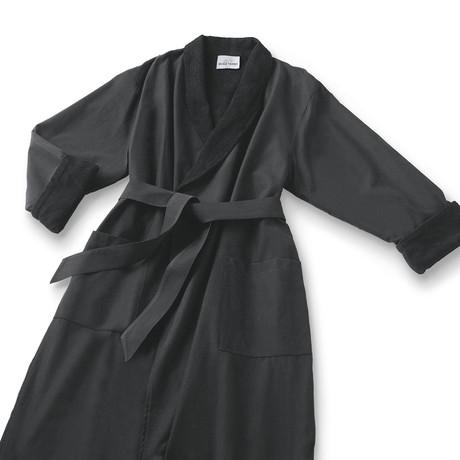 Microfiber Shawl Collar Robe // Black