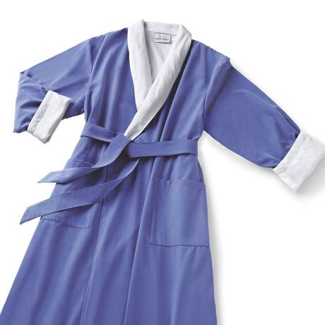 Microfiber Shawl Collar Robe // Wedgewood