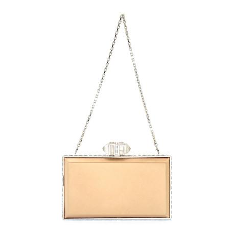 Judith Leiber // Women's Coffered Rectangle Clutch Handbag // Champagne
