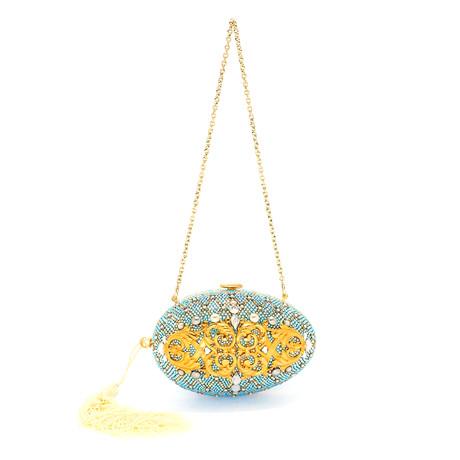 Judith Leiber // Women's Egg Ormulu Clutch Handbag // Blue + Gold