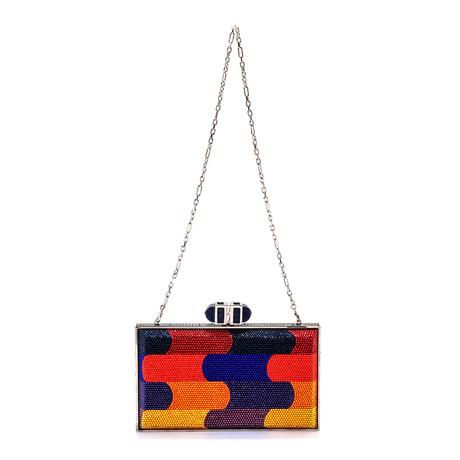 Judith Leiber // Women's Coffered Rectangle Clutch Handbag // Multicolor