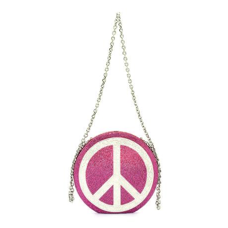 Judith Leiber // Women's Peace Out Clutch Handbag // Pink