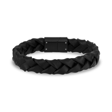 "Woven Leather Bracelet // 12mm // Black (7.5"")"