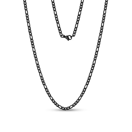 "Figaro Link Necklace // 3.5mm // Black (20""L)"