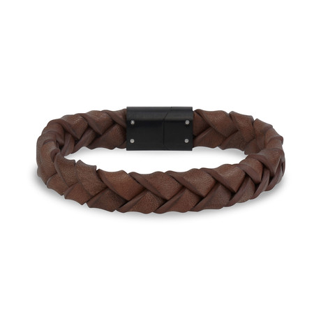 "Woven Leather Bracelet // 12mm // Brown (7.5"")"