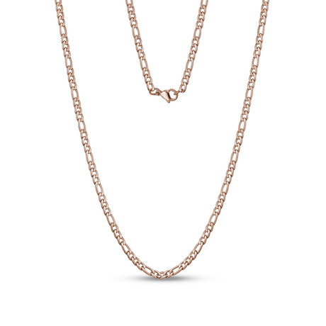 "Figaro Link Necklace // 3.5mm // Rose Gold Plated (20""L)"