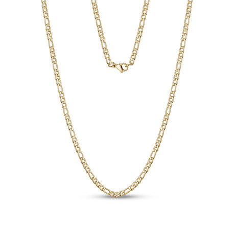 "Figaro Link Necklace // 3.5mm // Gold Plated (20""L)"