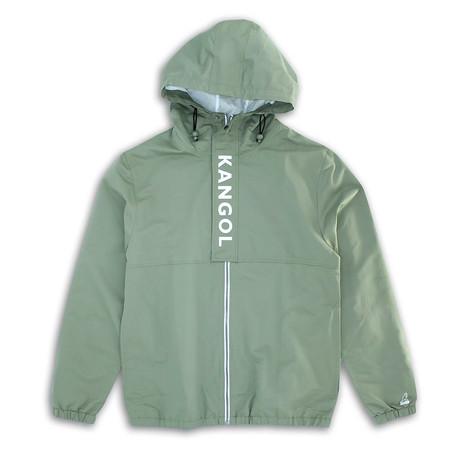 Hooded Windbreaker + Lettered Front Placket // Khaki (S)