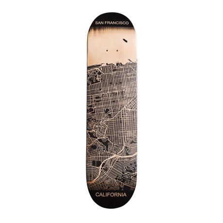 Engraved Skateboard Map // West Coast (Los Angeles, California)