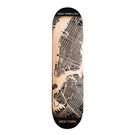 Engraved Skateboard Map // East Coast (New York City, New York)