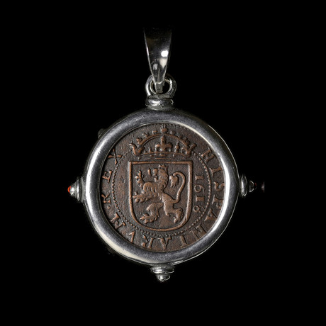 """Spanish Copper """"Pirate"""" Coin, Early 1600's // Silver Pendant With Garnets"""