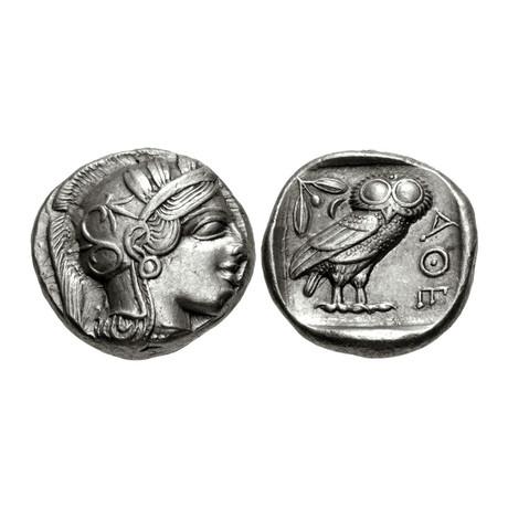 Athens Greece Large Silver Coin // Athena & Owl // 454-404 BC