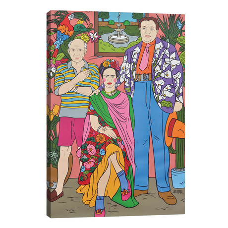 "Frida Kahlo, Pablo Picasso and Diego Rivera (18""W x 26""H x 1.5""D)"