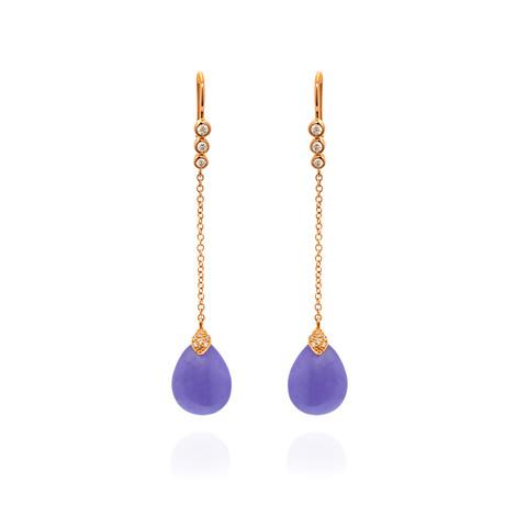 Mimi Milano Elizabeth 18k Rose Gold Diamond + Jade Earrings // Store Display