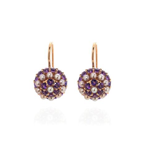 Mimi Milano Garbo 18k Rose Gold + Amethyst Earrings // Store Display