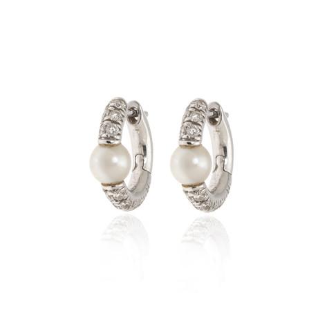 Mimi Milano Nagai Sirenette 18k White Gold Diamond + Pearl Earrings // Store Display