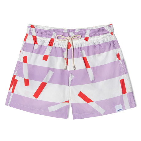 Mauvesticks X Camille Walala Grande Classic Swim Shorts // Mauve + White + Red (Small)