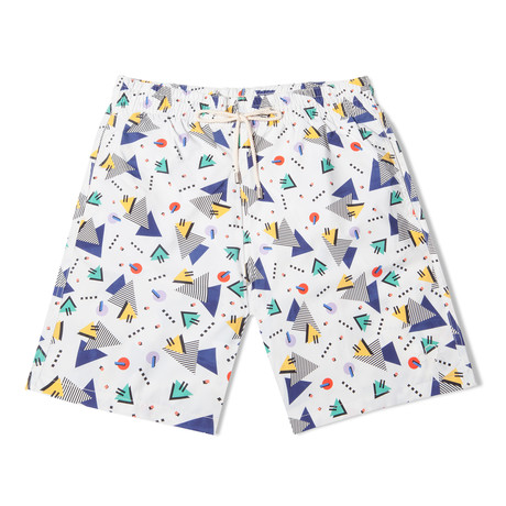 Miami Vice X Camille Walala Long Swim Shorts // White (Small)