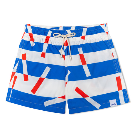 Bluesticks X Camille Walala Grande Classic Swim Shorts // Blue + White + Red (Small)