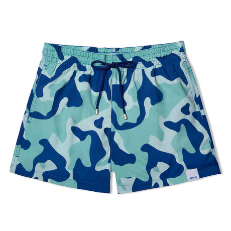 Camouflage X Mucho Classic Swim Shorts // Blue + Green (Small)