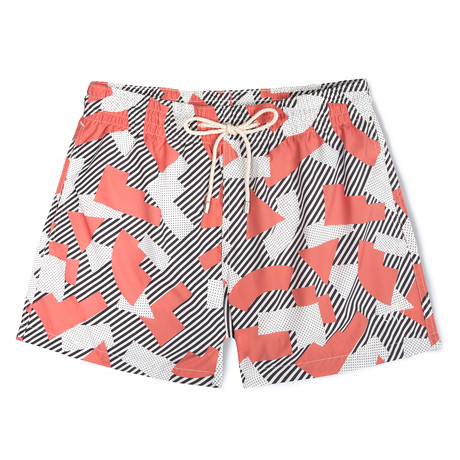 Memphis Milano X Mucho Classic Swim Shorts // Red + White + Black (Small)