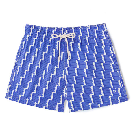 Geometric X Amelia Graham Classic Swim Shorts // Blue + White (Small)