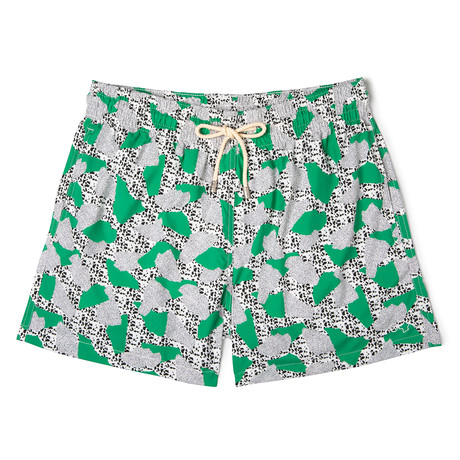 Dots X Mucho Classic Swim Shorts // Green + White (Small)