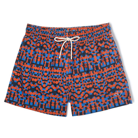 Tribe X Damien Poulain Classic Swim Shorts // Red + Blue + Black (Small)