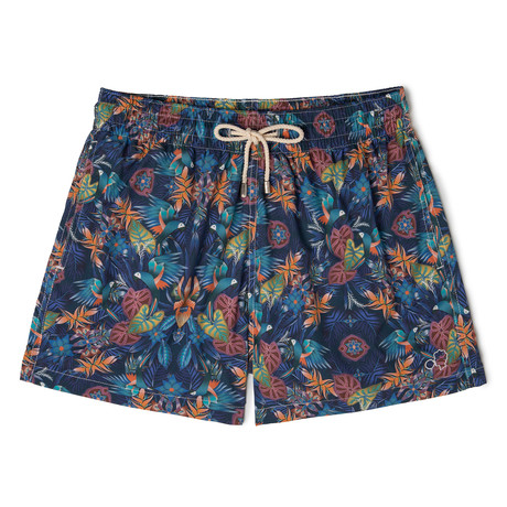 Guacamayo X Catalina Estrada Classic Swim Shorts // Navy + Orange (Small)