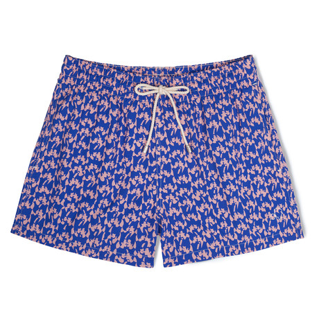 Love X Malika Favre Classic Swim Shorts // Blue + Pink (Small)