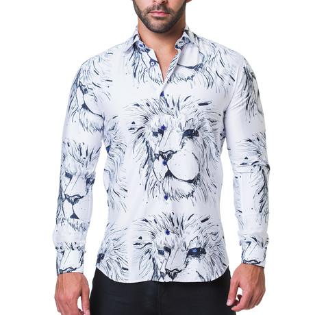 Fibonacci Lion Dress Shirt // White (S)