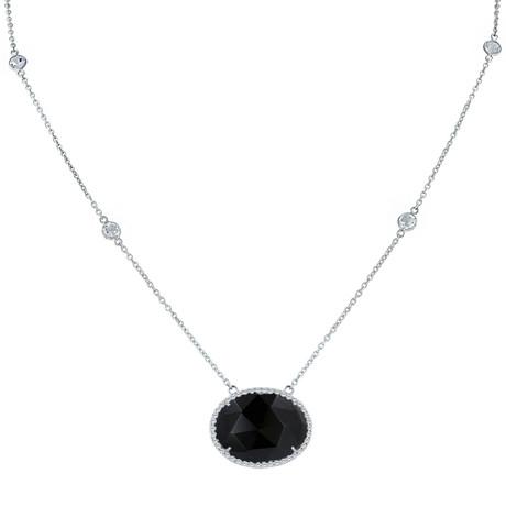 Women's Onyx White Topaz Necklace // Silver