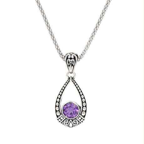 Women's Amethyst Necklace // Silver