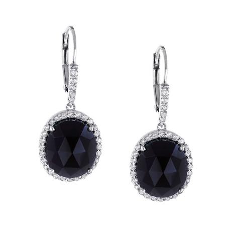 Women's Onyx + White Topaz Earrings // Silver