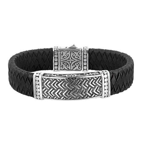 Men's Chevron Pattern Bracelet // Silver + Black