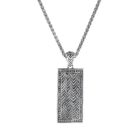 Men's Chevron Dog Tag Pendant + Chain // Silver
