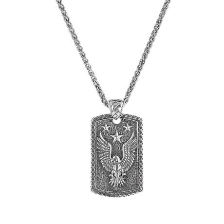 Men's Eagle Dog Tag Pendant + Chain // Silver