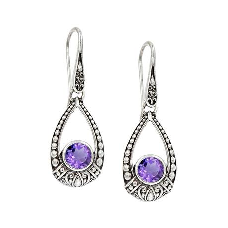 Women's Amethyst Earrings // Silver