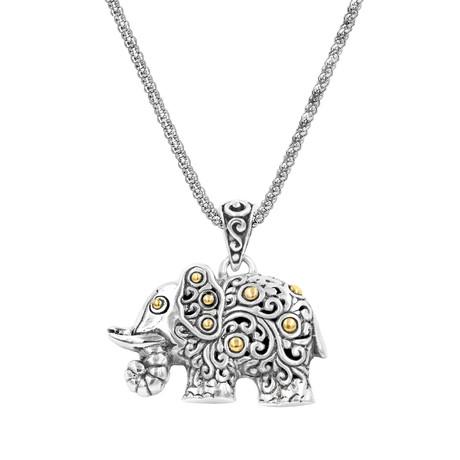 Women's Elephant Necklace // Silver + 18K Gold
